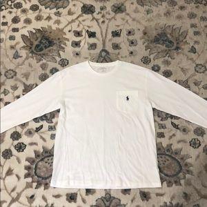 Men's White Long Sleeve Polo - Small